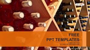 wine bottles stacked on wooden racks powerpoint templates
