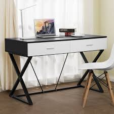 tribesigns computer desk with 2 utility drawers x shaped modern