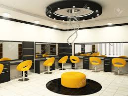 luxurious interior of a beauty salon with creative ceiling stock