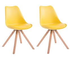 chaises jaunes lot de 2 chaises de salle à manger scandinave simili cuir jaune