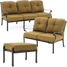 Patio Furniture Conversation Sets - evangeline 3 piece cast aluminum outdoor conversation set w