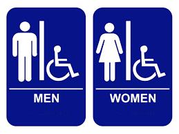 bathroom men amazon com men women s handicap restroom sign set with braille