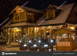 traditional wooden restaurant on the street in zakopane u2013 stock