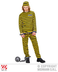 Halloween Jail Costumes Childrens Black Yellow Convict Fancy Dress Costume Halloween