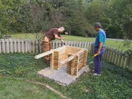 How To Build A Floor For A House How To Build A Log Cabin Doghouse How Tos Diy