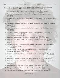 personal hygiene grooming sentence shapes worksheet esl fun games