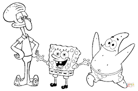 squidward tentacles spongebob and patrick star coloring page