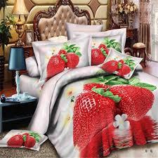 esydream 3d oil love pink strawberry print kids duvet bedlinen