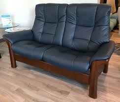 High Back Leather Recliner Chair Stressless Buckingham 2 Seat High Back Loveseat Paloma Oxford Blue