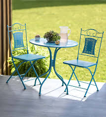 Patio Table And Chairs For Small Spaces Outdoor Table And Chairs Teal Color Great For