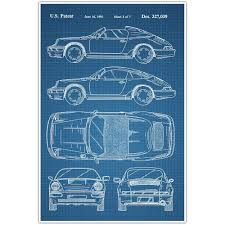 What Size Paper Are Blueprints Printed On by Porsche Patent Blueprint Poster Car Photo Art Paper Blast