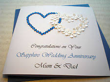 65 wedding anniversary luxury sapphire 45th 65th wedding anniversary card handmade