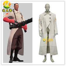 Team Fortress 2 Halloween Costumes Team Fortress 2 Medic Suit Uniform Game Cosplay Costume Men Tranch