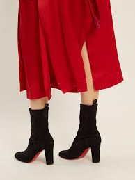 christian louboutin gena suede ankle boots in black lyst