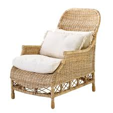 eichholtz rattan chair empire with white upholstery