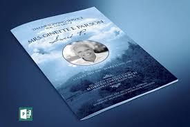 sle of funeral program blue sky funeral program publisher template from godserv on etsy