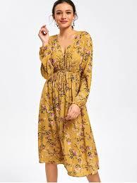 midi dress half buttoned sleeve floral midi dress yellow sleeve
