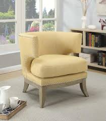Yellow Accent Chair Barrel Back Yellow Chenille Accent Chair