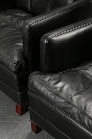 Black Leather Armchairs Pair Of Stylish Danish Black Leather Armchairs Seating Apollo