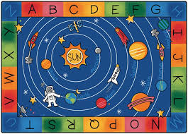 Outer Space Rug Milky Play Space Themed Alphabet Classroom Circle Time Rug 8 U00274