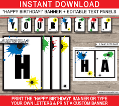 paintball party banner template birthday banner editable bunting