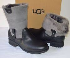 s grey ankle ugg boots ugg chyler black grey water resistant cuffed ankle shearling boots