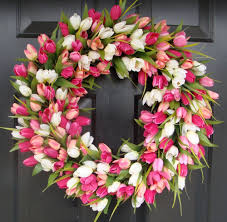 tulip wreath pink tulip wreath 24 inch easter wreath wreath by elegantholidays