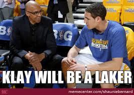 Funny Lakers Memes - klay thompson lakers by shauniebernard meme center