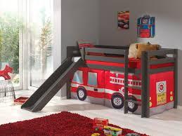 chambre garcon pompier lit mezzanine enfant avec toboggan en pin massif taupe laqué pompier