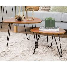 rectangular wood hairpin coffee table hairpin leg wood nesting coffee table set walnut dadu