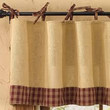 Linen Valance Sturbridge Wine Burlap And Tie Valance Primitive Home Decors