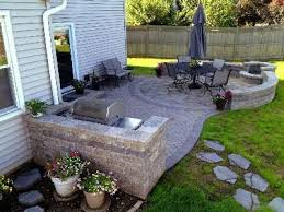 Small Backyard Patio Ideas Paver Patio With Grill Surround Fire Pit And Stone Steppers That
