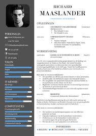 Cv Sjabloon Nederlands cv sjabloon york unieke gratis cv template inhoud commercieel