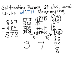 subtracting boxes sticks and circles with regrouping math