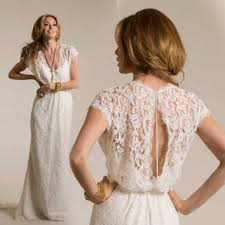 v neck lace wedding dress boho wedding from bailynnbounique on