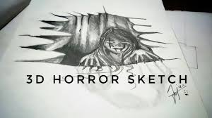 how to make horror 3d sketch of ghost in hole simple trick youtube