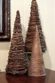 make a tree by wrapping paper cone with twine