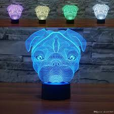 cute pug dog night light baby animal led lights table lamps for