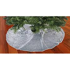 silver poinsettia tree skirt home kitchen
