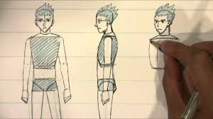 how to draw different views for male body proportions manga style