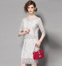 two dress set mid length sleeve lace hip wrapping dress two suit set
