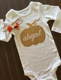 thanksgiving gold pumpkin onesie onsie fall baby 1st my