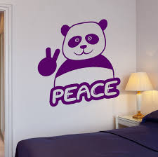 wall decals stickers home decor home furniture diy wall stickers funny panda peace hippie pacifism art mural vinyl decal ig2030