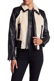 7 for all mankind lamb leather faux fur short jacket