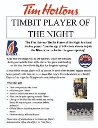 Players Bench Kamloops Tim Hortons Timbit Player Of The Night U2013 Kamloops Blazers