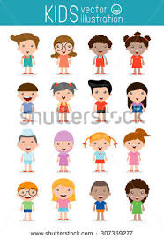 set diverse kids isolated on white stock vector 307369277