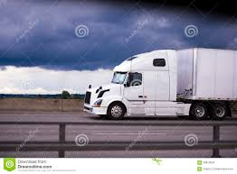 luxury semi trucks cabs power modern white rig semi truck trailer side view cab stock