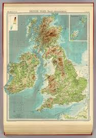 Map Of British Isles British Isles Bathy Orographical David Rumsey Historical Map