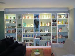 cool built in bookshelves feature white stained wooden bookshelves