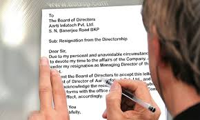 procedure for resignation of director of a company